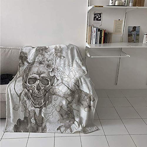 Maisi Throw Blanket Extra Large, Painting Skull Flowers Dia de Los Muertos Festive Designed Print, Weave Pattern Extra Long Blanket 90x70 Inch Dimgrey and White -