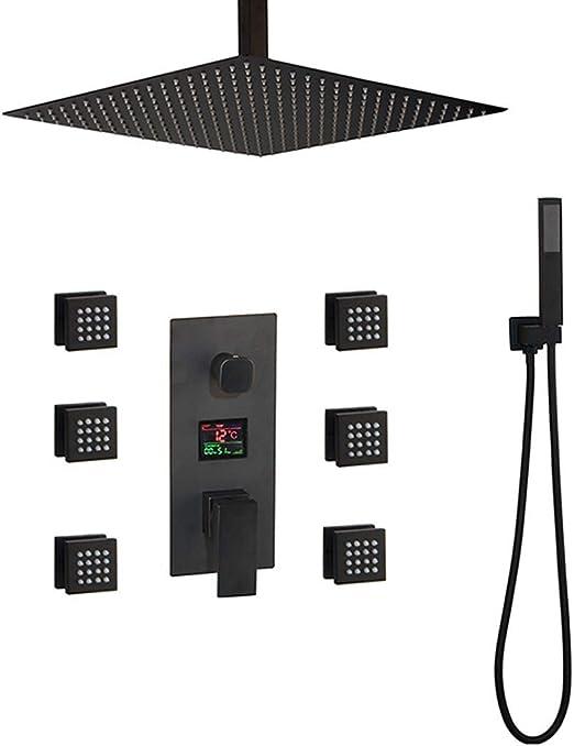 Sistema de ducha, grifo de ducha de baño montado en el techo Negro ...