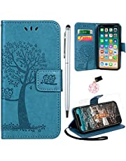 Yiscase Mobiltelefonskal kompatibel för iPhone 13 Pro Max-fodral, plånbok vikbart skal magnetvers PU-läder fodral skydd dammskydd stylus skyddsfolie för iPhone 13 Pro Max, 6,7 tum (2021) – blå