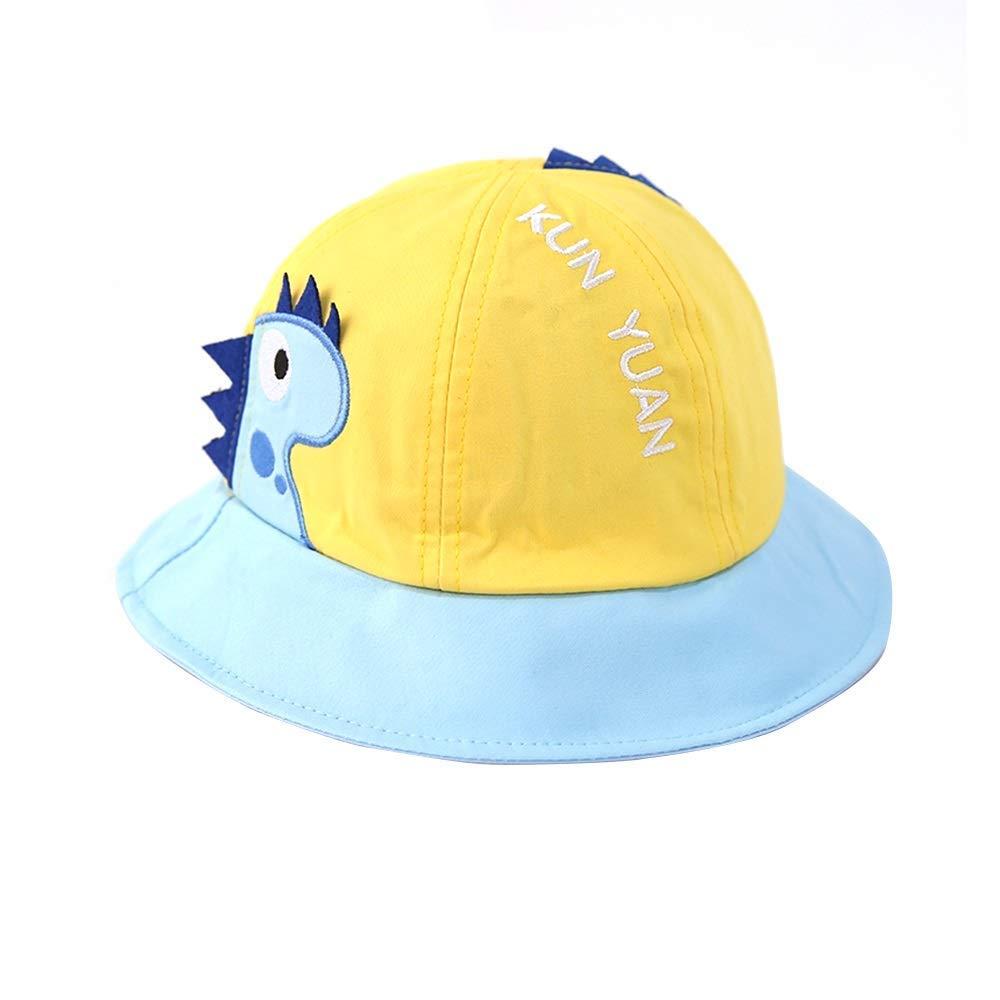 J&LILI Cappello da Sole per Bambini - Cappello da Pescatore a Tesa Larga, Protezione dai Raggi UV, Modello di Dinosauro Carino, Cappelli da Sole per Bambini e Ragazzi,A