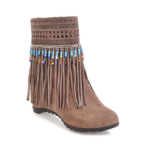 BalaMasa Womens Mid-Calf Beaded Tassels No-Closure Suede Boots ABL10607 Gray UcOY7WA6Q
