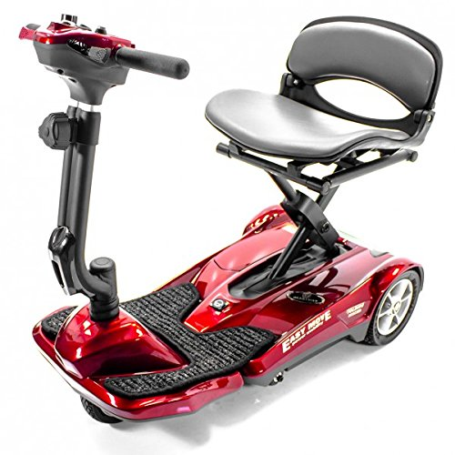 EV Rider Automatic Folding Scooter With Remote Lithium Power Mobility (Burgundy Red) Scooter Store