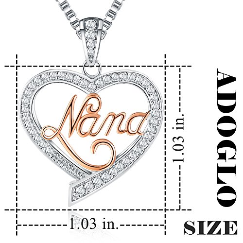 "♥Mother's Birthday Gift♥ Ado Glo ""Mom"" ""Nana"" ""Aunt"" Love Heart Pendant Necklace - Women's Twotone Fashion Jewelry - Valentines Day Present for Her"