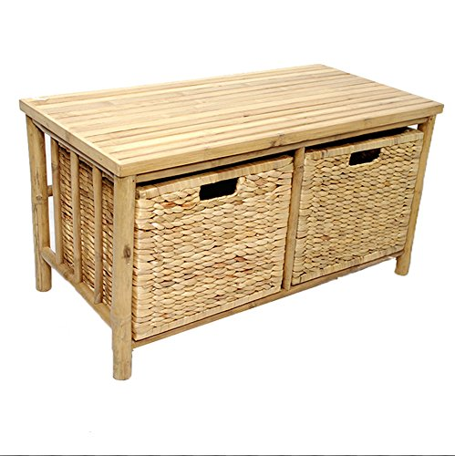 Heather Ann Creations Isla Collection Bohemian Bamboo Open Frame Bench with Two Drawers, 17
