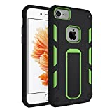 iPhone 8 7 6S 6 Case with Kickstand Though Armor Heavy Duty Dual Layer Shockproof Air Cushion Bumper Protective Case for Apple iPhone 8/iPhone 7 /iPhone 6S / iPhone 6 - Black Green