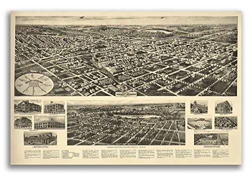 Magnet 1924 Valley Stream New York Vintage Old Panoramic NY City Map Magnet Vinyl Magnetic Sheet for Lockers, Cars, Signs, Refrigerator ()