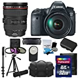 Canon EOS 6D CMOS Digital SLR Camera & Canon Zoom Wide Angle-Telephoto EF24-105mm IS f/4 L USM Lens UV Filter Kit & Extra Battery +Tripod + Monopod + 32GB Complete Deluxe Accessory Bundle & Much More!
