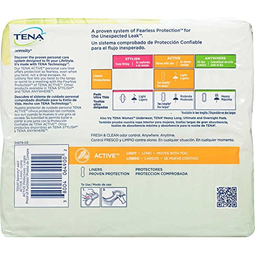 Amazon.com: Tena Serenity Active Long Liners 44 ct Pack - 4 per case.: Health & Personal Care