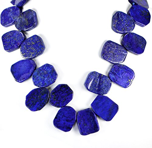 A1 Blue Lapis Lazuli Nugget Necklace with Silver Tone Clasp 18