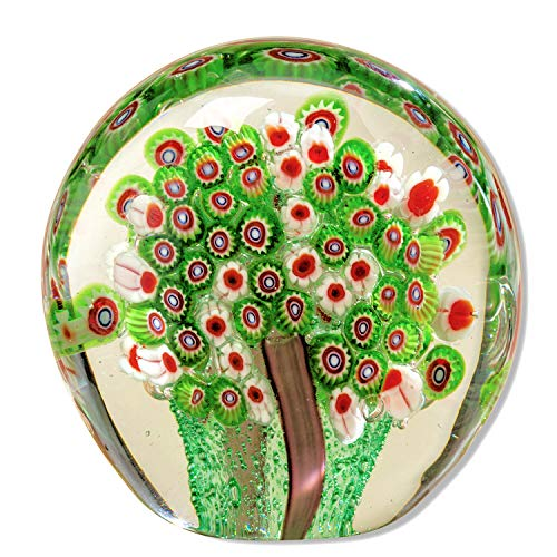 WHW Whole House Worlds Naturally Modern Green Millefleurs Paperweight, Handcrafted, Art Glass, Round Drop Shape, 3 1/2 L x 2 W x 3 1/2 H Inches, Flat Bottom