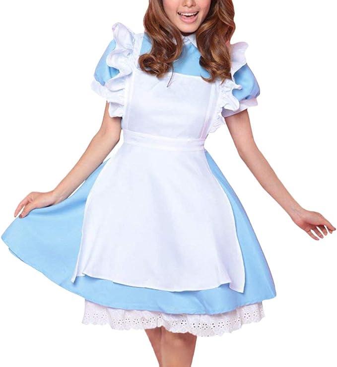 Minetom Mujer Lolita Maid Uniforme con Delantal Dulce Alicia en el ...