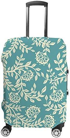 スーツケースカバー トラベルケース 荷物カバー 弾性素材 傷を防ぐ ほこりや汚れを防ぐ 個性 出張 男性と女性ライトブルーのヴィンテージ花柄