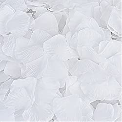 Rose Petals, Cozyswan 4000pcs Silk Artificial Fabric Flower for Valentine Ceremony Wedding or Home Hotel Garden Bouquet Party Decorations (White)