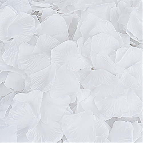Rose Garden Fabric - Rose Petals, Cozyswan 4000pcs Silk Artificial Fabric Flower for Valentine Ceremony Wedding or Home Hotel Garden Bouquet Party Decorations (White)