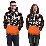 iTLOTL Couple 3D Ghost Print Halloween Long Sleeve Hoodie Sweater Top(Orange,US-12/CN-L)