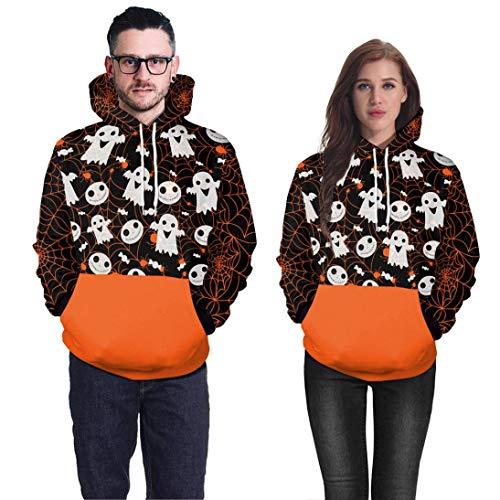 iTLOTL Couple 3D Ghost Print Halloween Long Sleeve Hoodie Sweater Top(Orange,US-12/CN-L) by iTLOTL