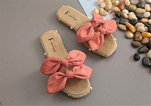 Summer Home Elegance Pink Shoes Flat Women Cloth Slides Heel Women Casual Slippers Fresh rArxf