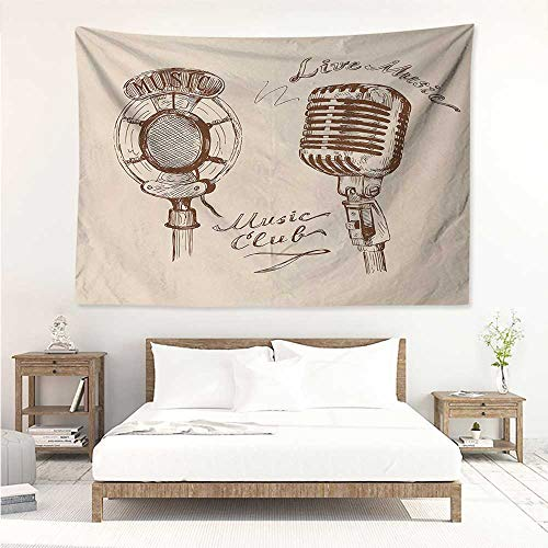 alisos Music,Wall Decor Tapestry Old Fashioned Doodles with Waves and Vintage Microphone Print Retro Style Boho Print 80W x 60L Inch Tapestry Wallpaper Home Decor Brown Ecru