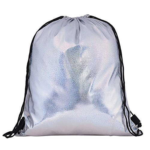 Sequin Sports Metallic Holiday Plain Gym Holographic Festival BackPack Knapsack Travel Metallic Silver Knapsack UvqW1