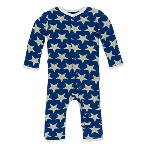 Kickee Pants Little Boys Print Coverall With Snaps - Vintage Stars, 6-9 Months