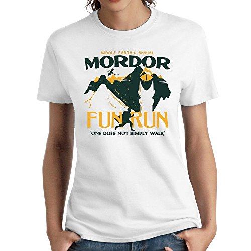 63be2cb48 bibisc Woman Mordor Fun Run Tshirts 100% Cotton White