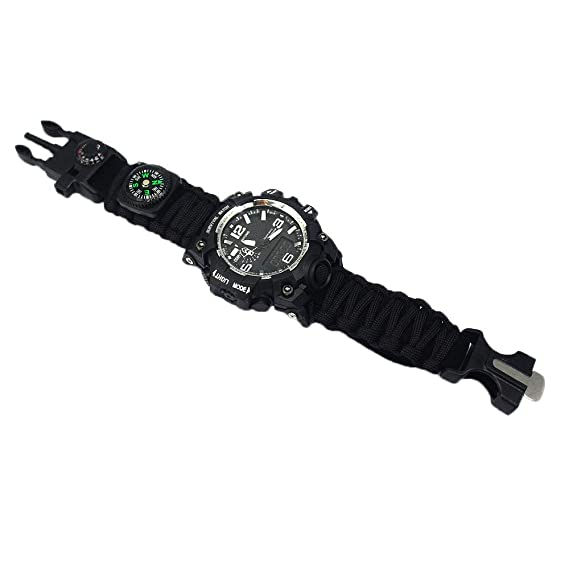 Amazon.com: Outdoor Survival Watch-Vovomay Bracelet with Flint Fire Starter Compass Whistle (A): Cell Phones & Accessories
