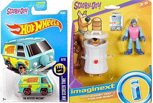 Hot Wheels Scooby-Doo! Pack Mystery Solving Crew Collectible Figures Funland Robot & Scared Scooby in Can + Mystery Machine Van 2017 Die-cast Screen Time Set