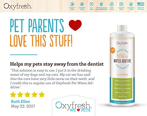 Oxyfresh Premium Pet Dental Care Solution (16oz): Best Way To Eliminate Bad Dog Breath & Cat Breath - Fights Tartar, Plaque & Gum Disease! - So easy, just add to water! Vet Recommended! by Oxyfresh (Image #3)