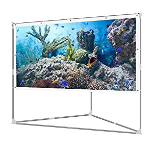 JaeilPLM 100-Inch Wrinkle-Free Portable Outdoor Projection Screen + Setup Stand + Transportable Bag Full Set