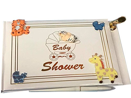 Blue Flower Shower Giraffe (Baby Shower Guest Book Safari Jungle Animals Baby Boy Signature)