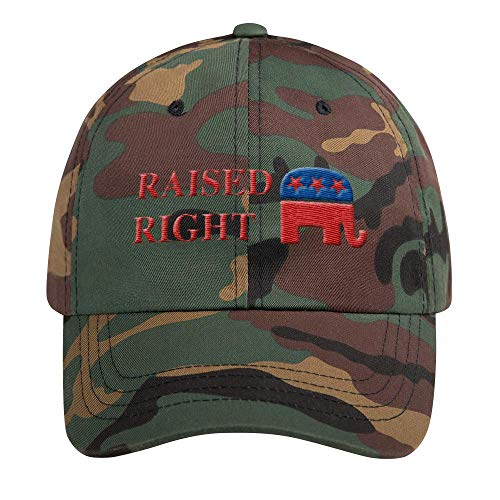 Classic Republican Elephant - LiberTee Republican Party Raised Right Camo Hat for Men and Women, Republican Elephant GOP Classic Dad Cap, Printed in USA