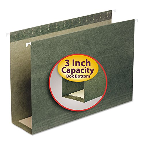 Smead 64379 Three Inch Capacity Box Bottom Hanging File Folders Legal Green 25/Box