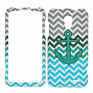 Cell Armor ZTE Z998 Snap-On Cover - Retail Packaging - Green Anchor on Blue/Green Chevron