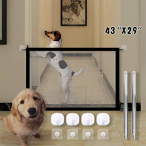 Updated Version Magic Gate, Pet Safety Enclosure, Foldable Portable Safe Guard, Baby Mesh Fence Install Anywhere Pet Mesh Gate for Kitchen, Hall, Doorway, Stairs S