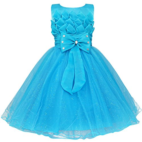 FEESHOW Baby Little Girls 3D Lotus Flower Pageant Party Wedding Tulle Dresses Size 6-12 Months Blue