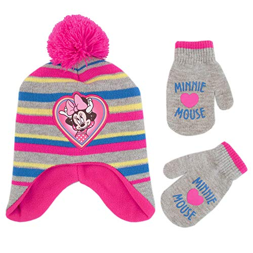 Disney Girls' Toddler' Minnie Mouse Pom Hat and Mittens Cold Weather Set, pink/grey, Age 2-4