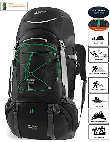 TERRA PEAK Adjustable Hiking Backpack 85L+20L for Men Women With Free Rain Cover Included Black ()