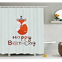 Birthday Decorations Shower Curtain by Ambesonne, Cute Fox Sleeping on Dotted Backdrop Greeting Message, Fabric Bathroom Decor Set with Hooks, 70 Inches, Orange Light Blue Beige