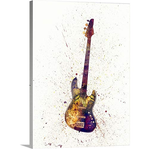 "Electric Bass Guitar Abstract Watercolor Canvas Wall Art Print, 12""x16""x1.25"""