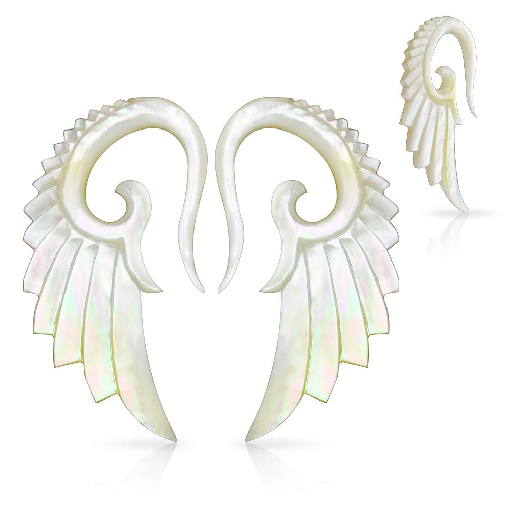 Inspiration Dezigns Angelic Wing Pair of Hand Carved Mother of Pearl Taper (10GA (2.4mm)) by Inspiration Dezigns