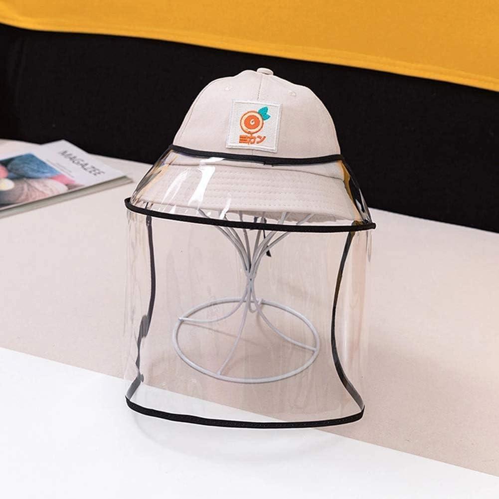 BWJL Excelente Casco Anti-escupir con una Cara extraíbles de plástico Transparente, Sun del Casquillo del Sombrero del tapón Antipolvo Fischer escupió niñas,Blanco