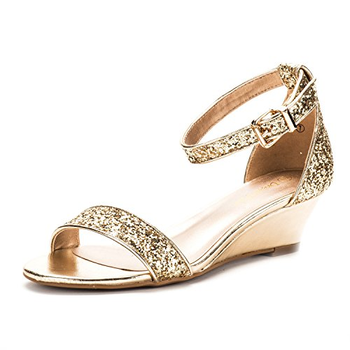 DREAM PAIRS Women's Ingrid Gold Glitter Ankle Strap Low Wedge Sandals - 7.5 M US