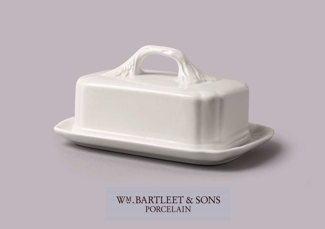 WM Bartleet and Sons Ceramic Butter Dish with Leaf Design Handle