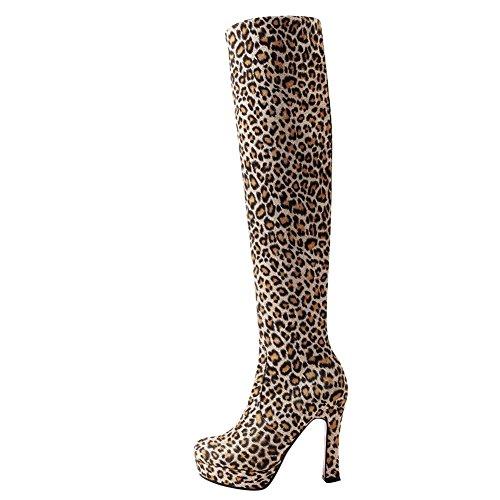 Mee Shoes Damen high heels Plateau langschaft Stiefel Leopard