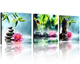 water photo - QICAI Zen Canvas Prints 3 Panel Spa Wall Decor Spa Stone Green Bamboo Pink Waterlily Zen Buddha Pictures Canvas Painting Print for Home Office and Kitchen Stretched and Framed Each Panel 12x12inch