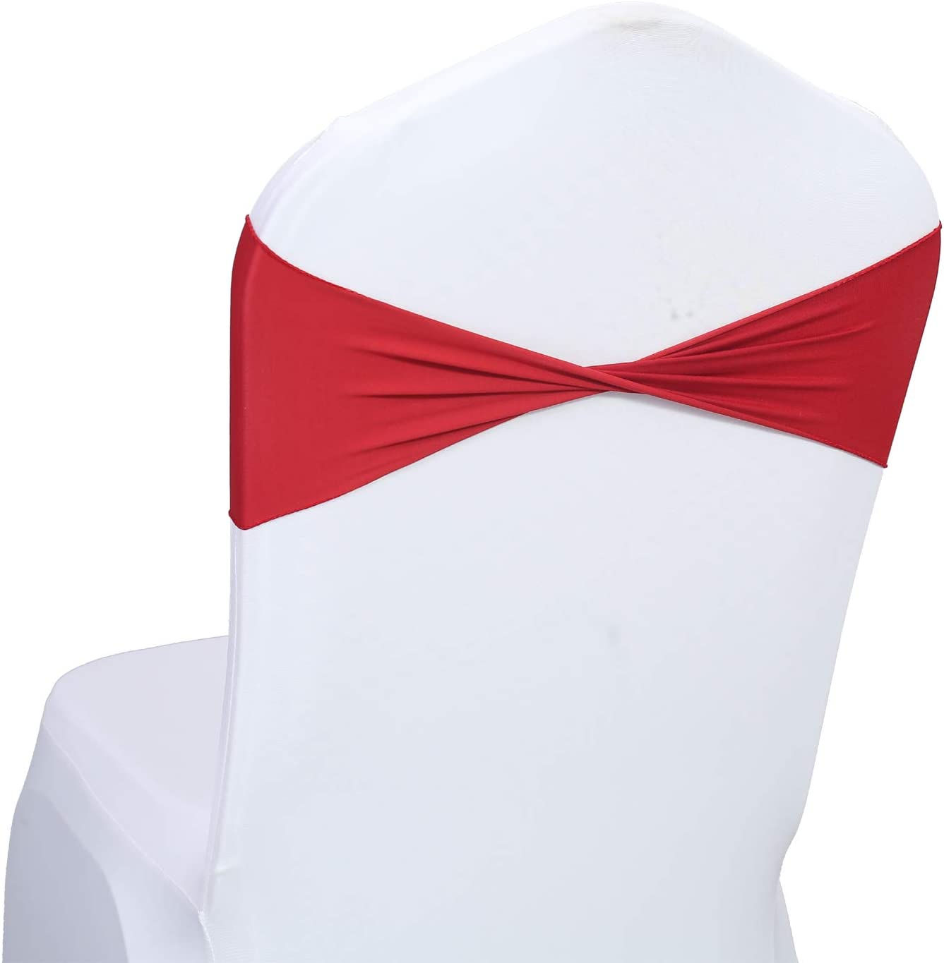 mds Pack of 10 Spandex Chair Sashes Bow sash Elastic Chair Bands Ties Without Buckle for Wedding and Events Decoration Lycra Slider Sashes Bow - Apple Red