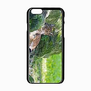 Iphone 5C Black Hardshell Case 4.7inch lynx grass rocks moss predator Desin Images Protector Back Cover