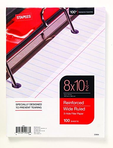 """Staples Reinforced Filler Paper, Wide Ruled, 8"""" x 10 1/2"""""""