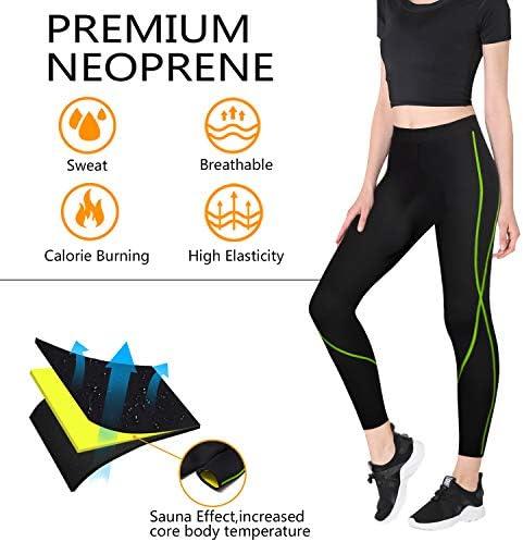 Rolewpy Women Neoprene Sauna Slimming Pants Hot Thermo Sweat Body Shaper Capri for Leggings 2