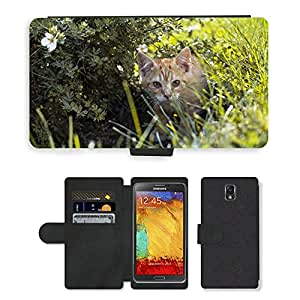 PU LEATHER case coque housse smartphone Flip bag Cover protection // M00111114 Gatito Gato Naturaleza Redhead Hierba // Samsung Galaxy Note 3 III N9000 N9002 N9005